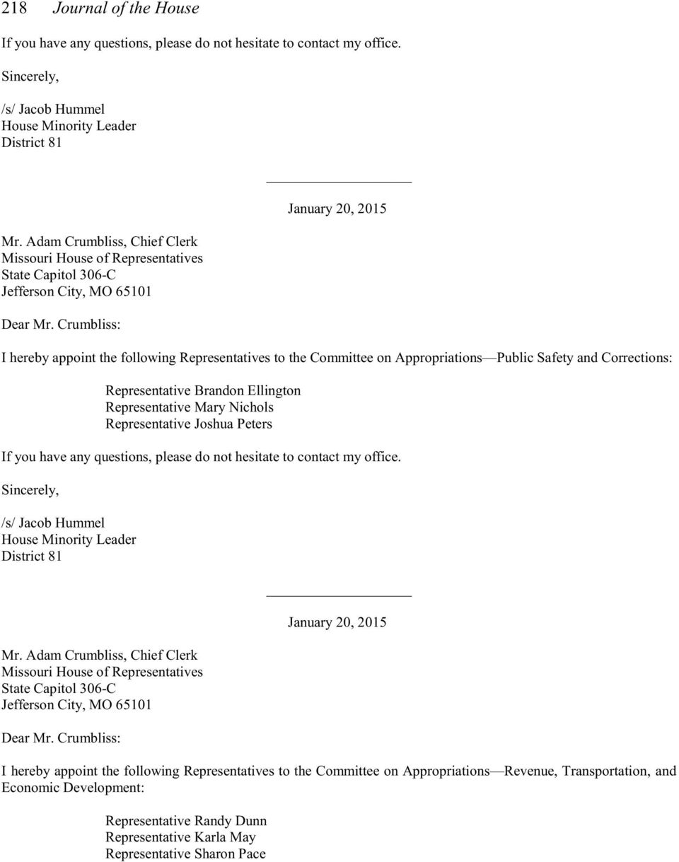 Joshua Peters _ I hereby appoint the following Representatives to the Committee on Appropriations Revenue,