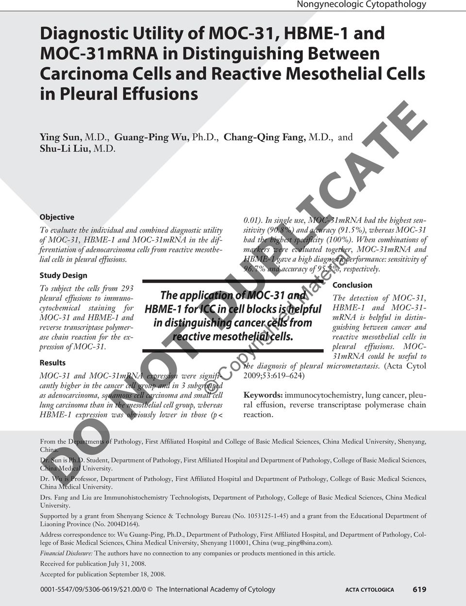 cells in pleural effusions.