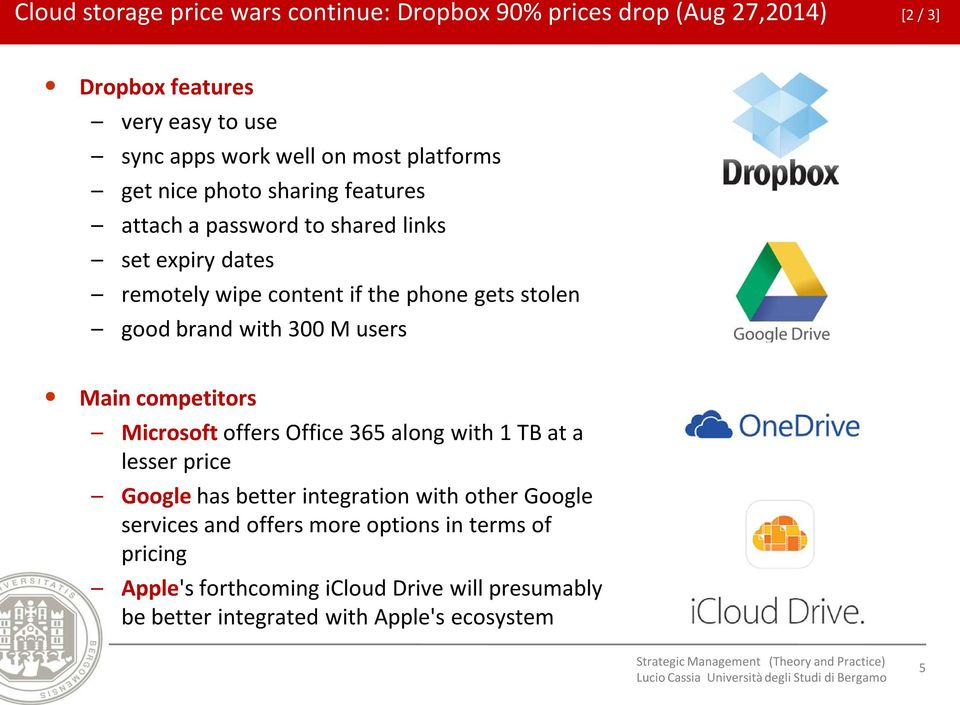 brand with 300 M users Main competitors Microsoft offers Office 365 along with 1 TB at a lesser price Google has better integration with other