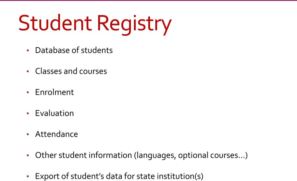 student information (languages, optional courses