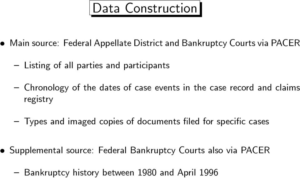 record and claims registry Types and imaged copies of documents filed for specific cases