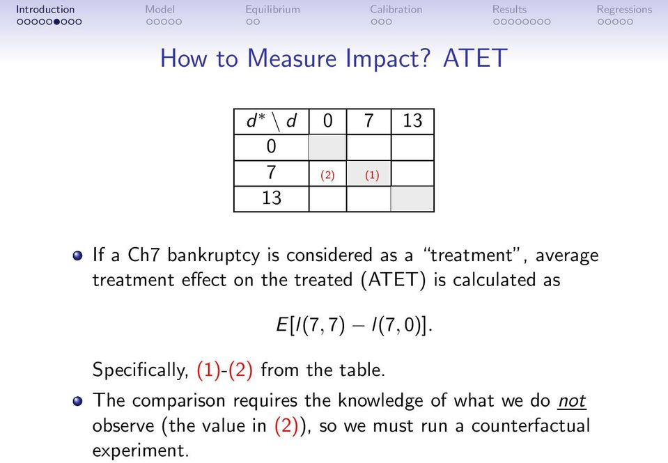 average treatment effect on the treated (ATET) is calculated as E[l(7,7) l(7,0)].