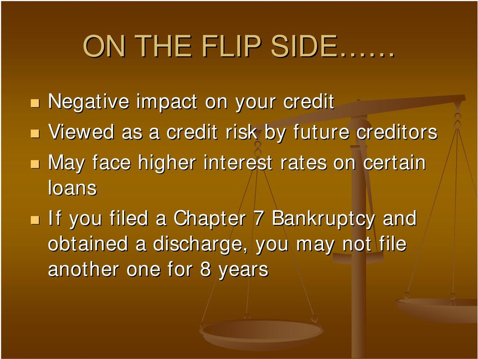 rates on certain loans If you filed a Chapter 7 Bankruptcy
