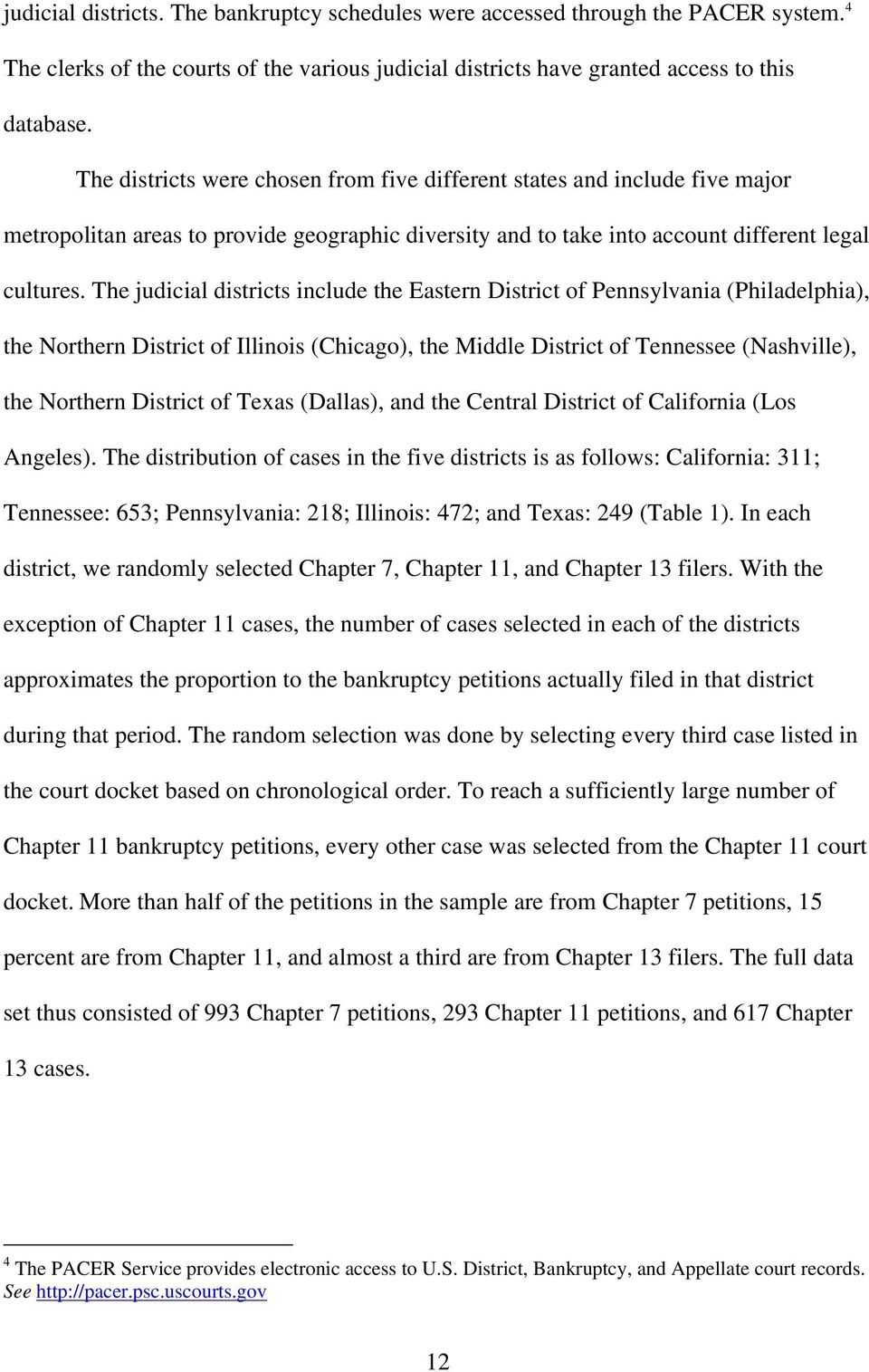 The judicial districts include the Eastern District of Pennsylvania (Philadelphia), the Northern District of Illinois (Chicago), the Middle District of Tennessee (Nashville), the Northern District of