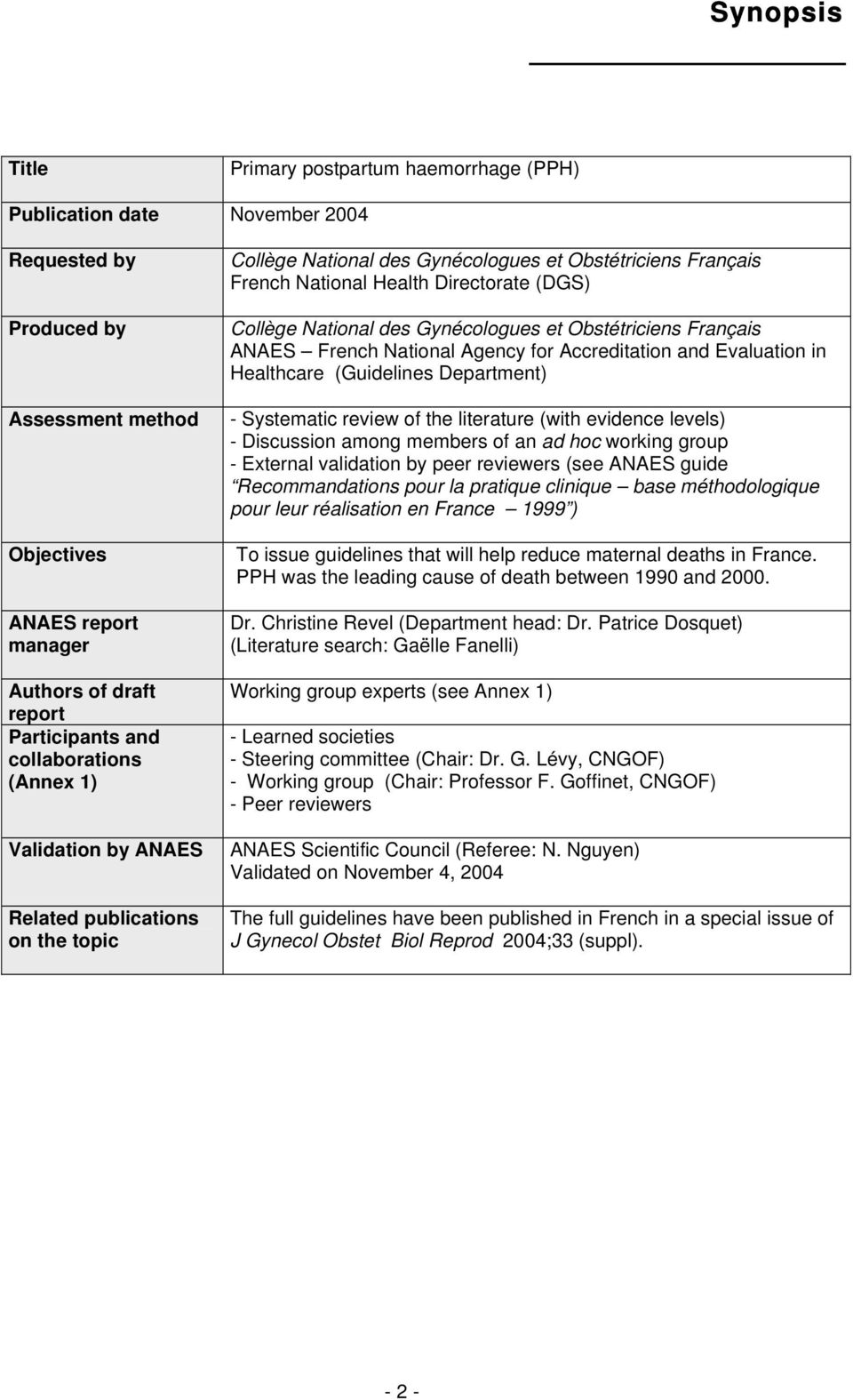 des Gynécologues et Obstétriciens Français ANAES French National Agency for Accreditation and Evaluation in Healthcare (Guidelines Department) - Systematic review of the literature (with evidence