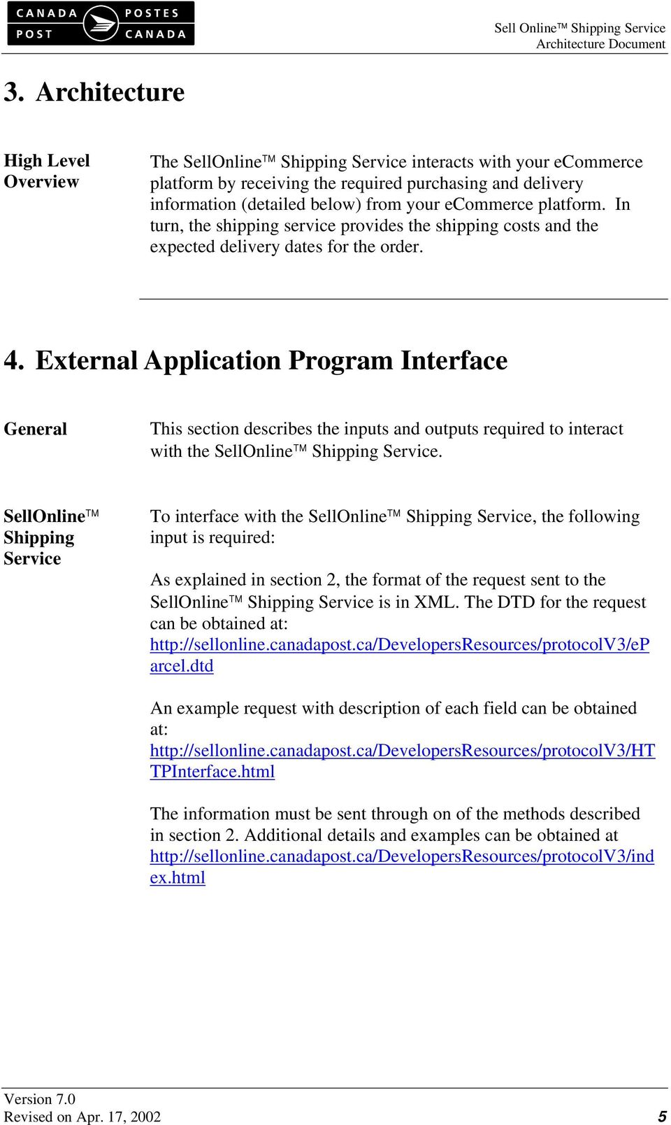 External Application Program Interface General This section describes the inputs and outputs required to interact with the SellOnline Shipping Service.