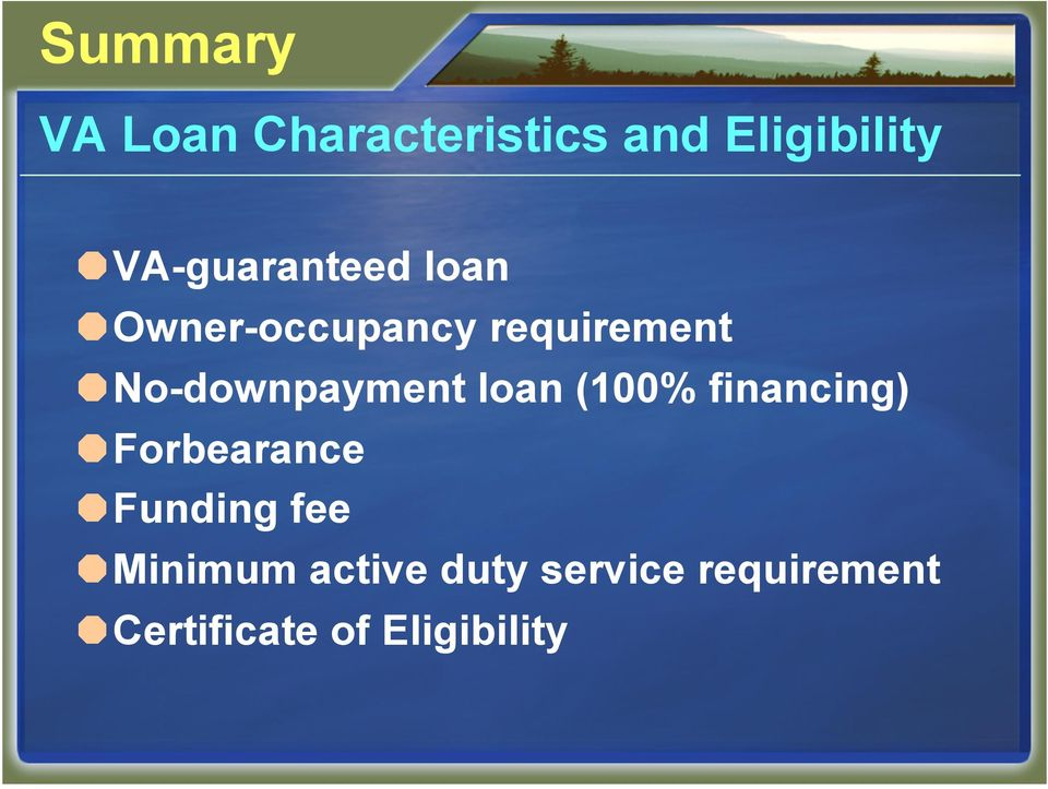 No-downpayment loan (100% financing) Forbearance
