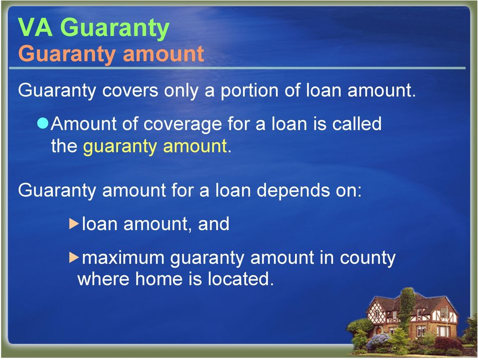 Amount of coverage for a loan is called the guaranty amount.