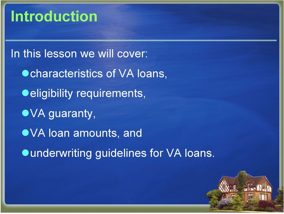 requirements, VA guaranty, VA loan