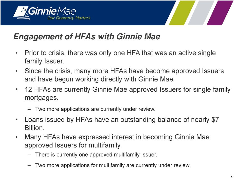 12 HFAs are currently Ginnie Mae approved Issuers for single family mortgages. Two more applications are currently under review.