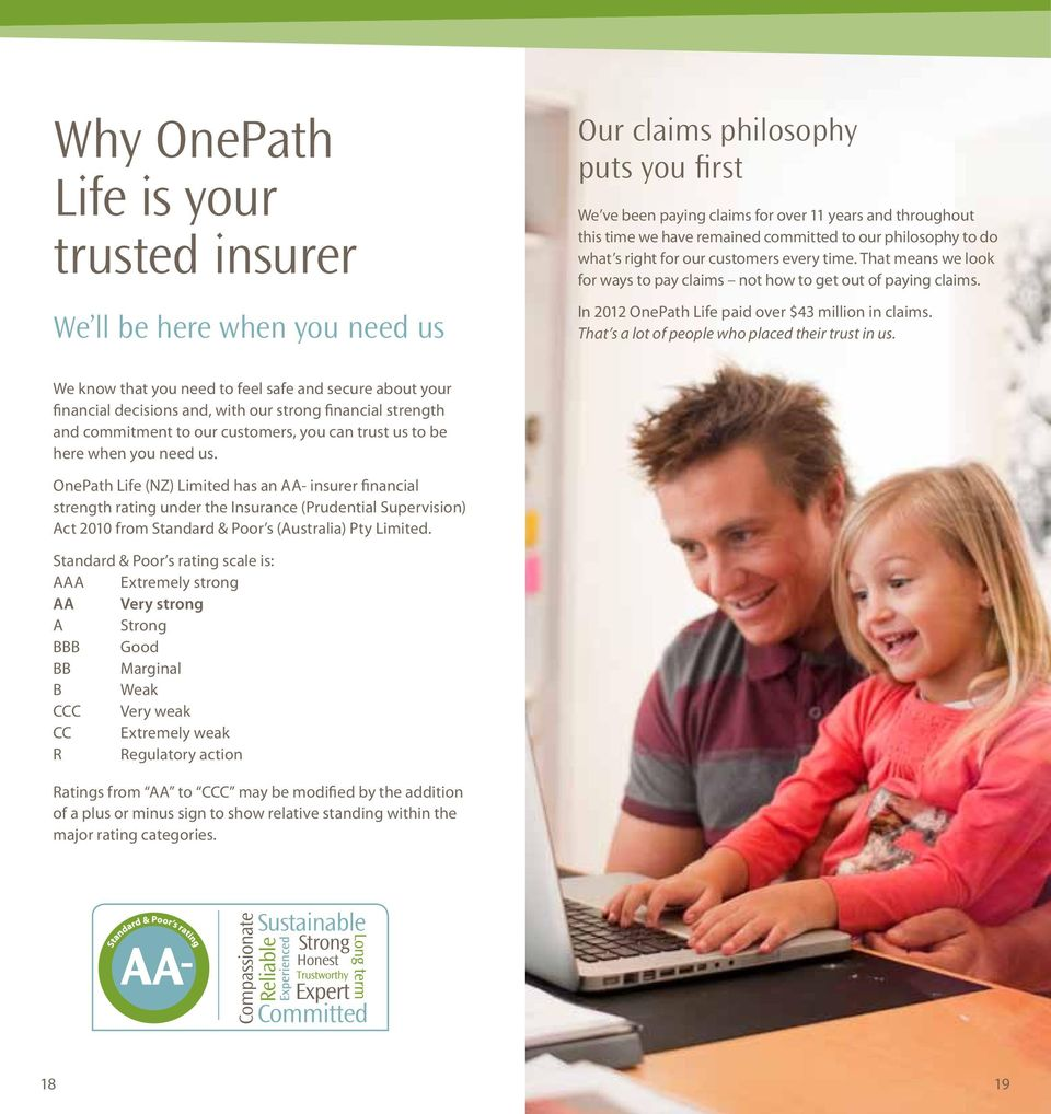 In 2012 OnePath Life paid over $43 million in claims. That s a lot of people who placed their trust in us.