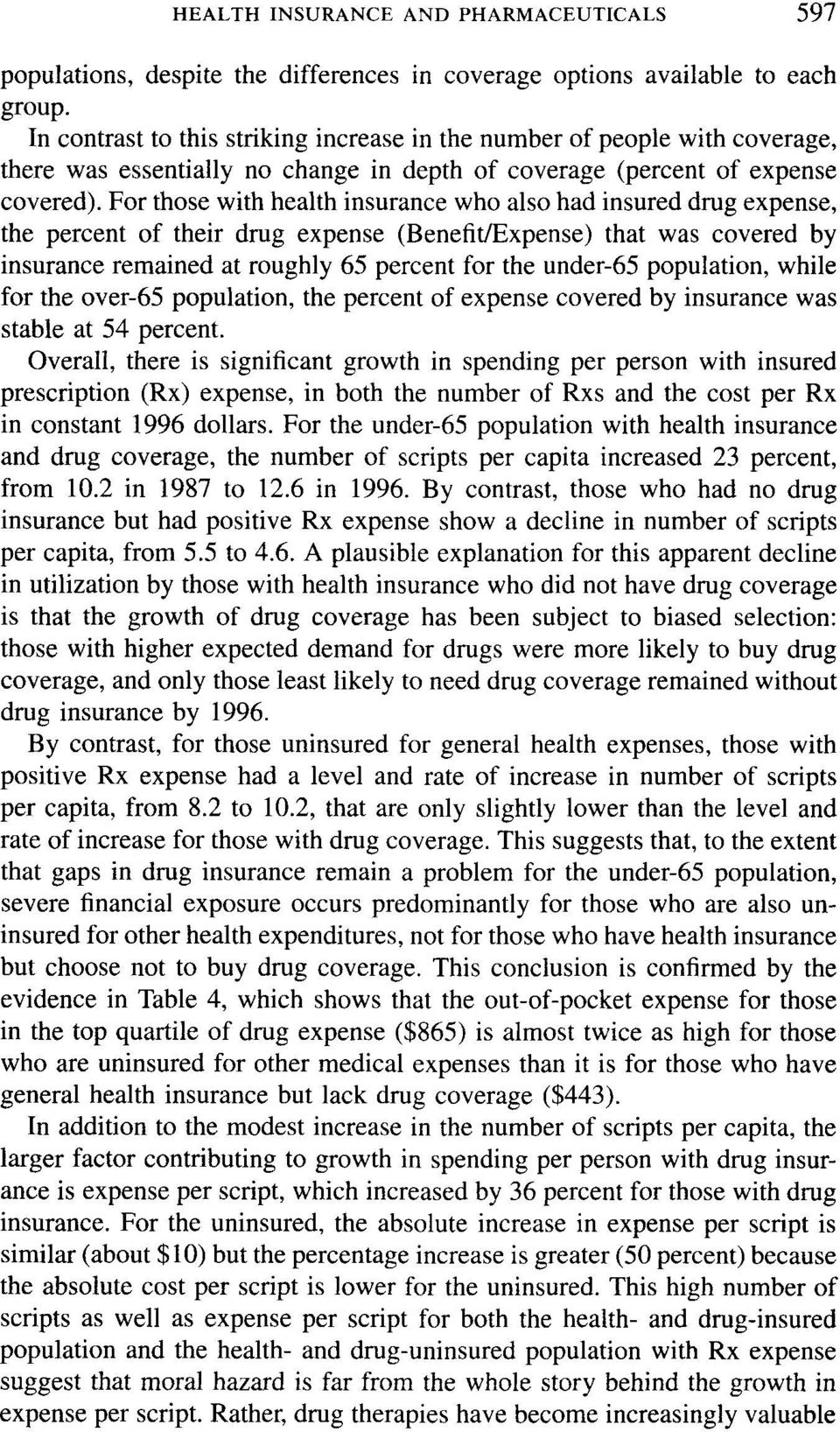 For those with health insurance who also had insured drug expense, the percent of their drug expense (Benefit/Expense) that was covered by insurance remained at roughly 65 percent for the under-65