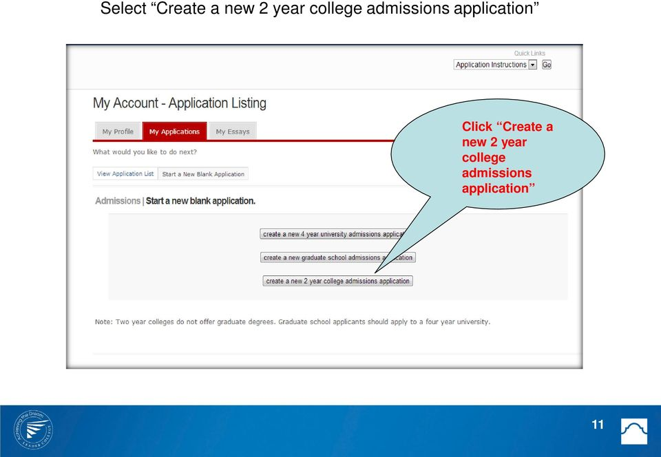 application Click Create a