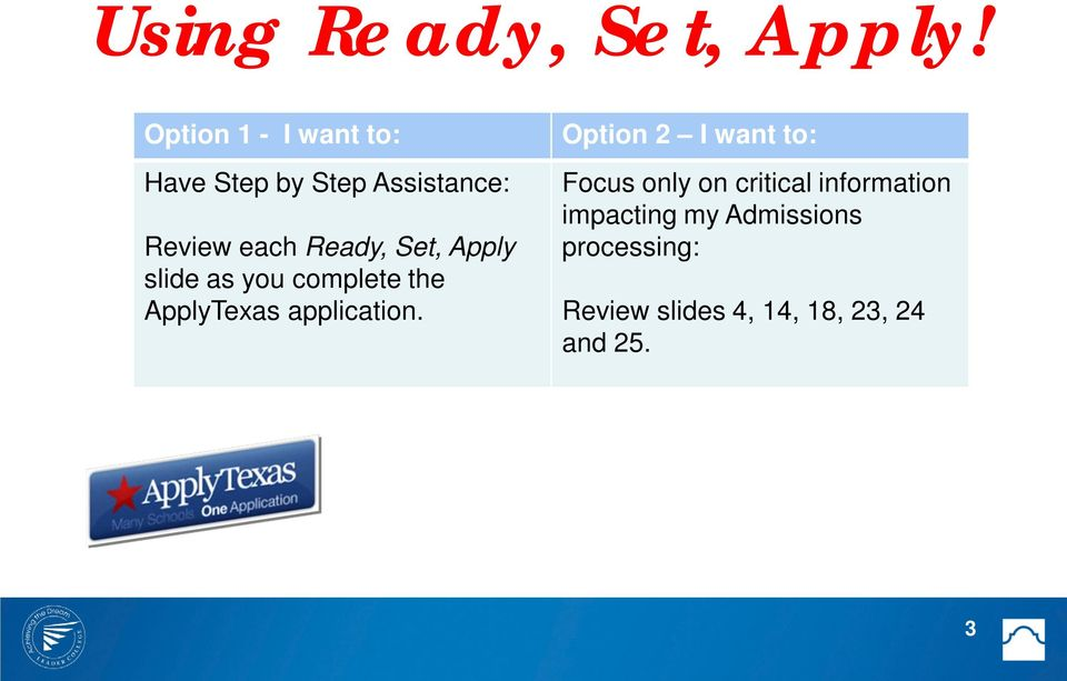 Set, Apply slide as you complete the ApplyTexas application.