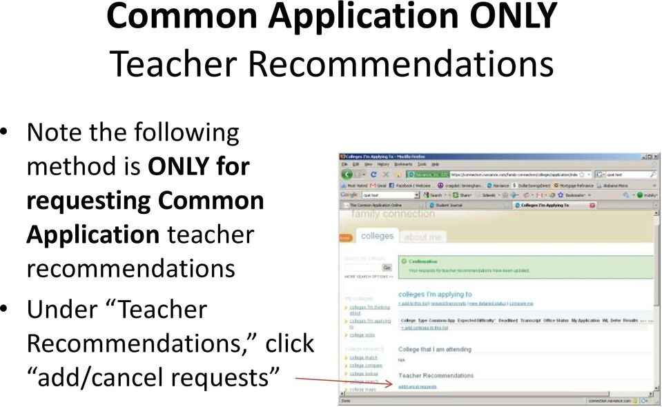 Common Application teacher recommendations Under