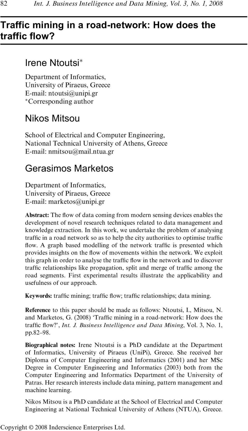 gr Corresponding author Nikos Mitsou School of Electrical and Computer Engineering, National Technical University of Athens, Greece E-mail: nmitsou@mail.ntua.