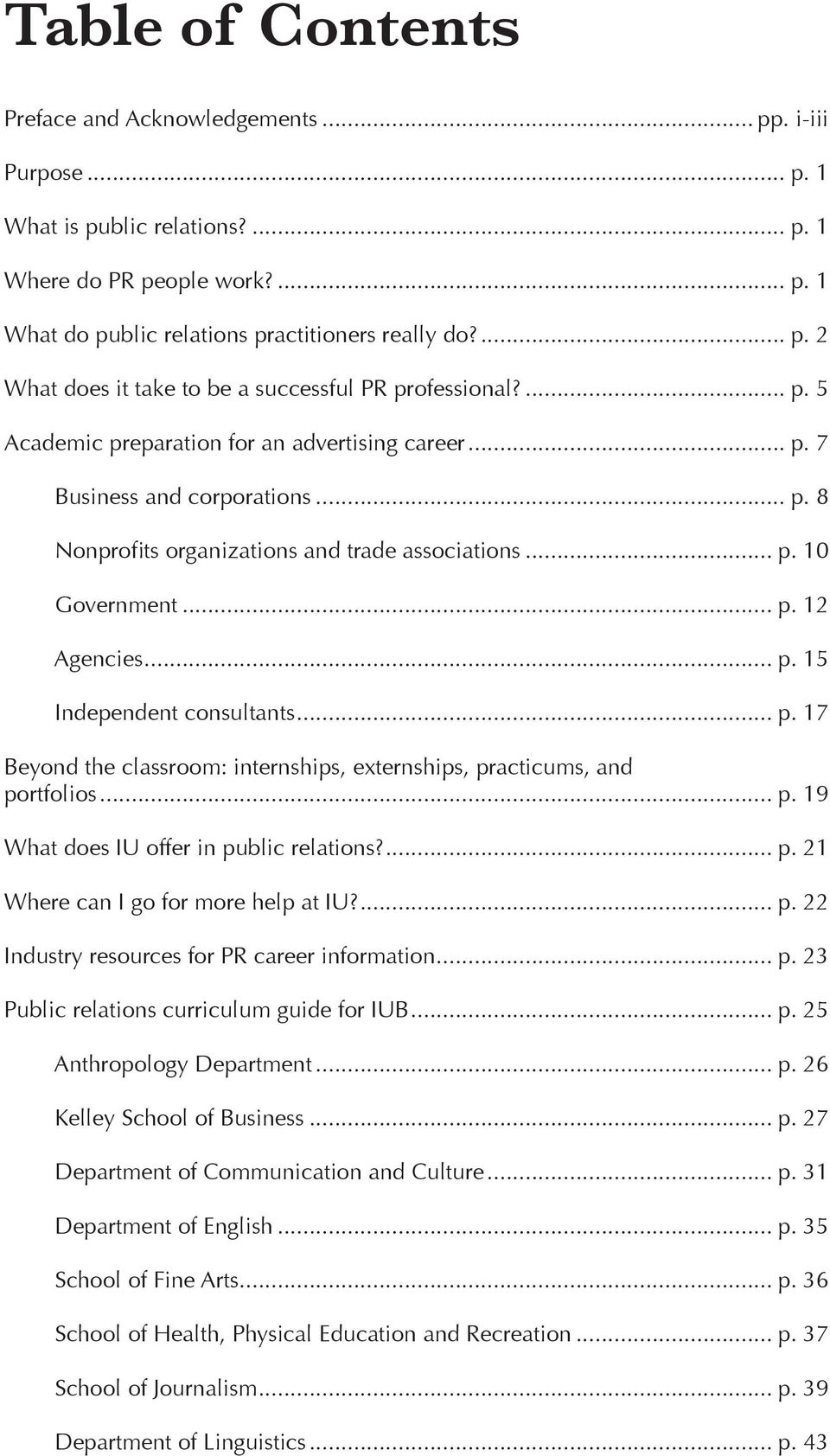 .. p. 17 Beyond the classroom: internships, externships, practicums, and portfolios... p. 19 What does IU offer in public relations?... p. 21 Where can I go for more help at IU?... p. 22 Industry resources for PR career information.