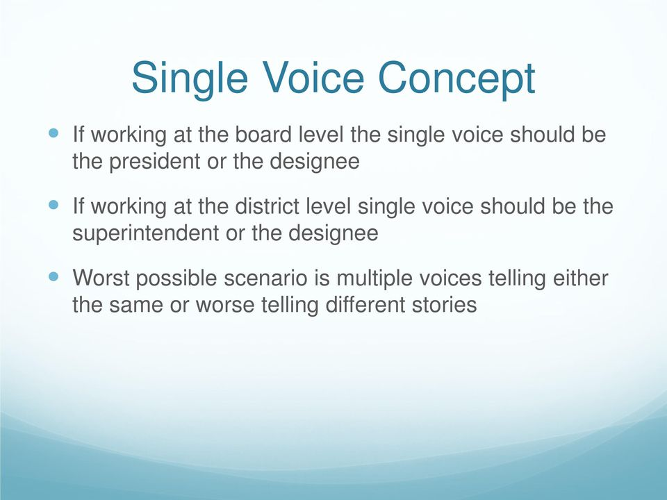 voice should be the superintendent or the designee Worst possible scenario