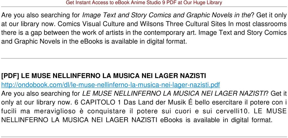 Image Text and Story Comics and Graphic Novels in the ebooks is available in digital [PDF] LE MUSE NELLINFERNO LA MUSICA NEI LAGER NAZISTI http://ondobook.