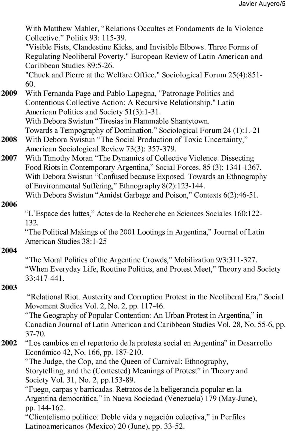 "2009 With Fernanda Page and Pablo Lapegna, ""Patronage Politics and Contentious Collective Action: A Recursive Relationship."" Latin American Politics and Society 51(3):1-31."