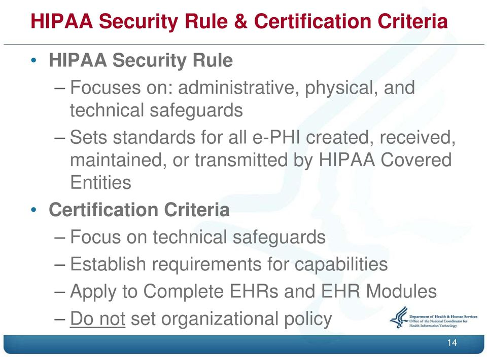 transmitted by HIPAA Covered Entities Certification Criteria Focus on technical safeguards