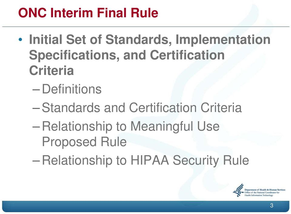 Definitions Standards and Certification Criteria