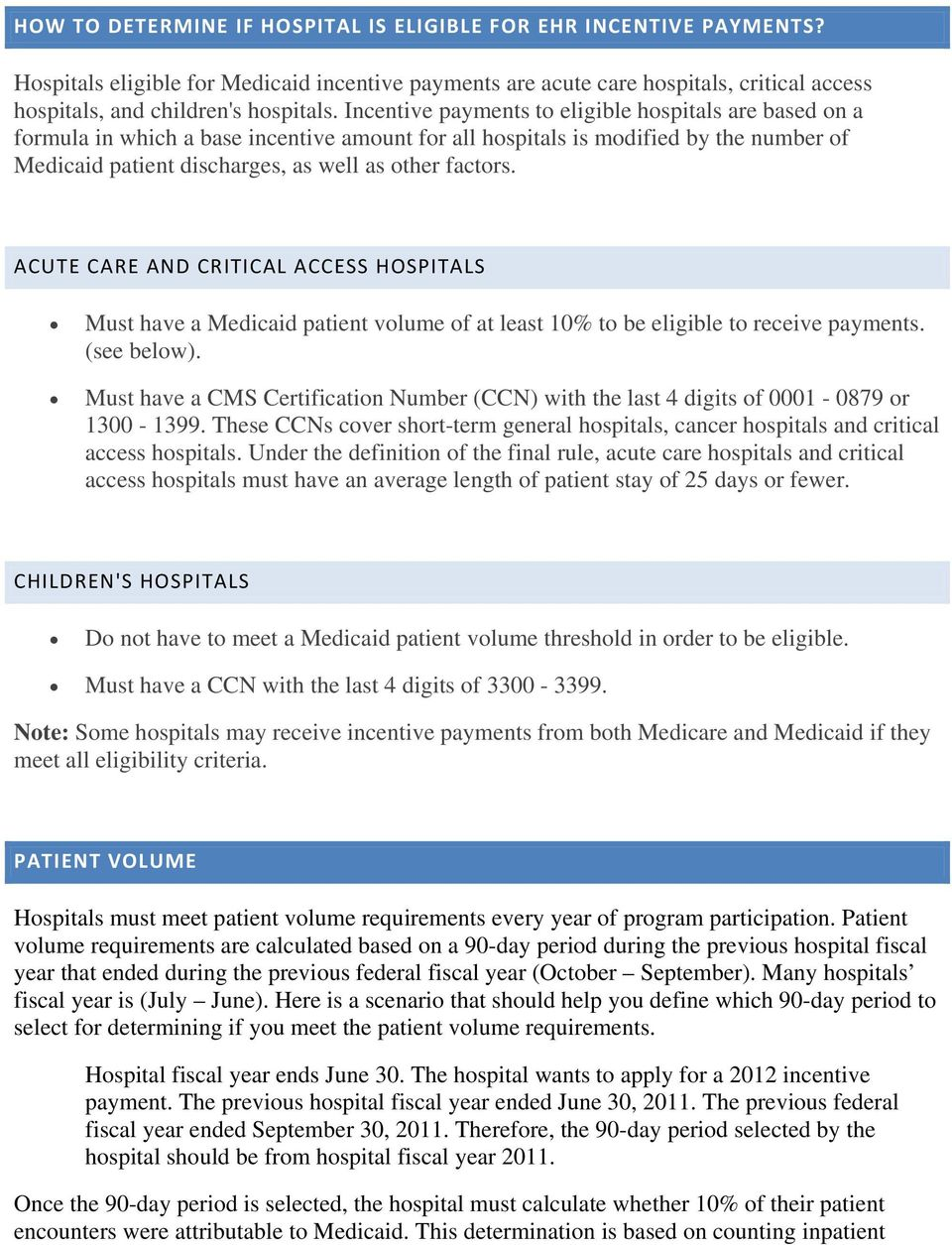 ACUTE CARE AND CRITICAL ACCESS HOSPITALS Must have a Medicaid patient volume of at least 10% to be eligible to receive payments. (see below).