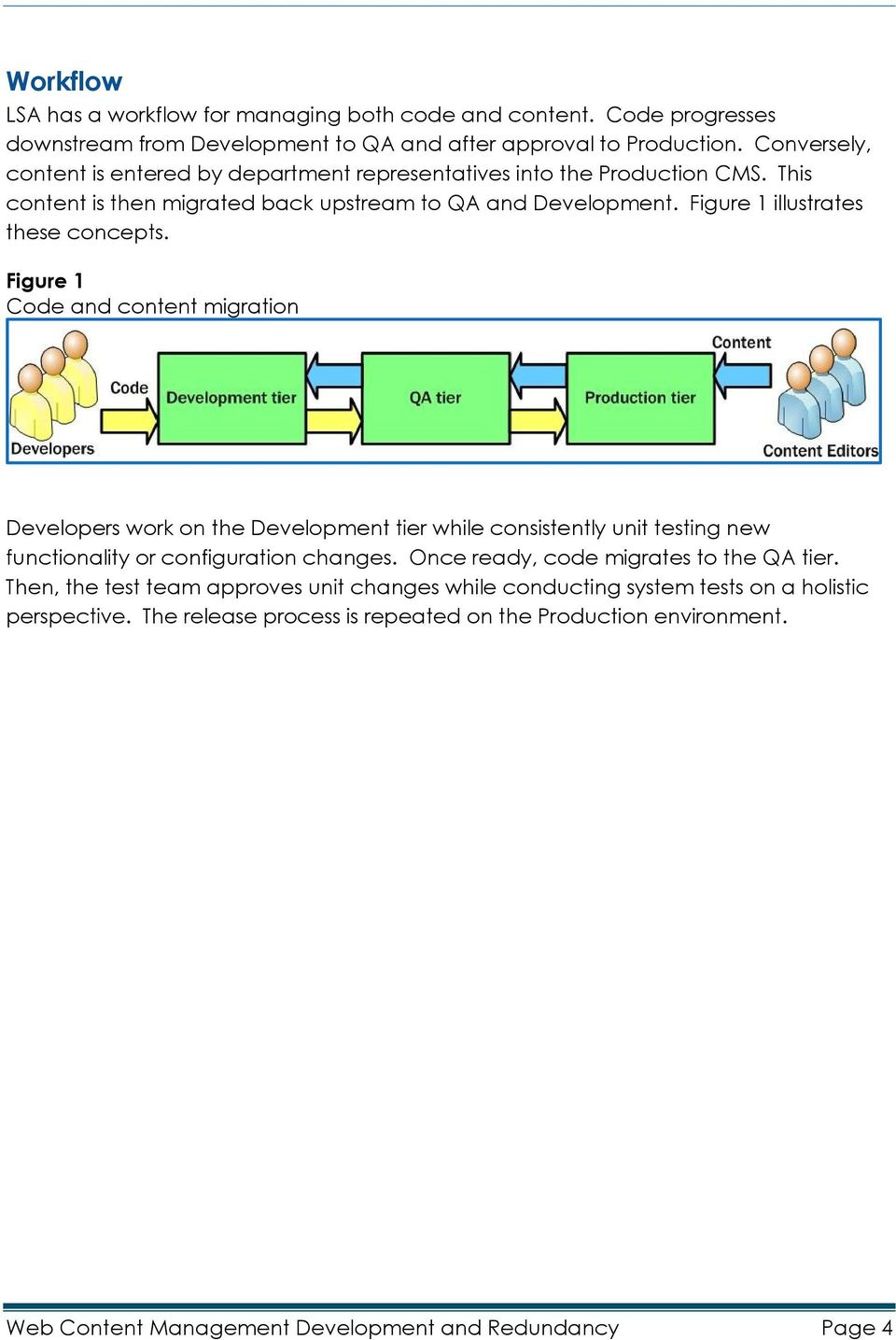 Figure 1 illustrates these concepts. Figure 1 Code and content migration Developers work on the Development tier while consistently unit testing new functionality or configuration changes.