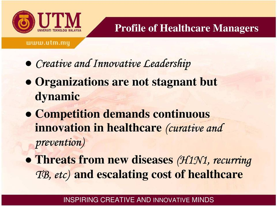 continuous innovation in healthcare (curative and prevention)
