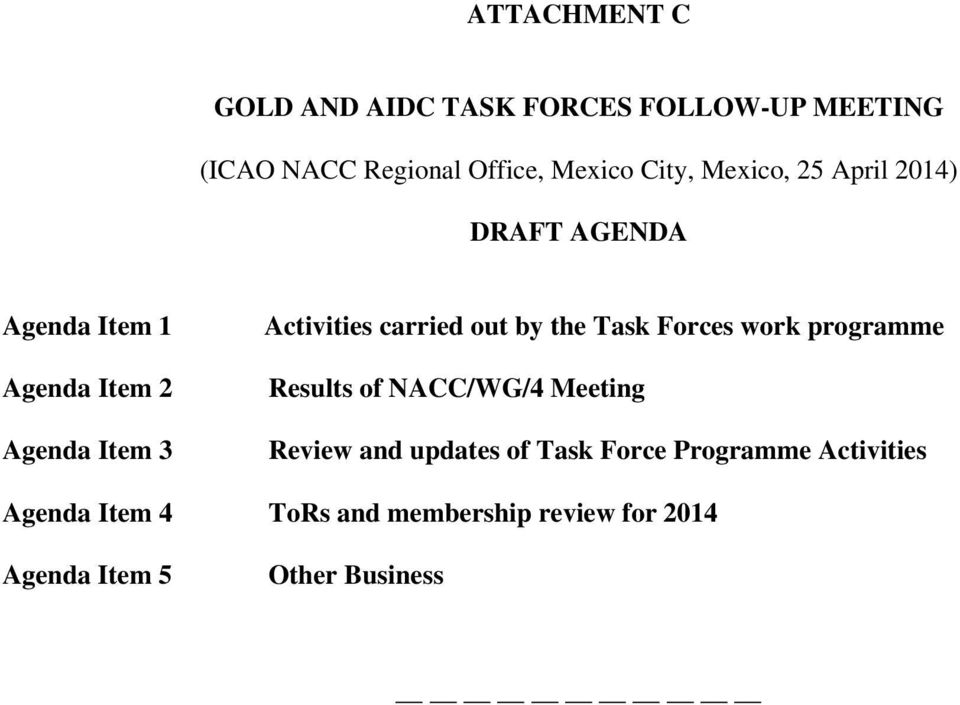 out by the Task Forces work programme Results of NACC/WG/4 Meeting Review and updates of Task
