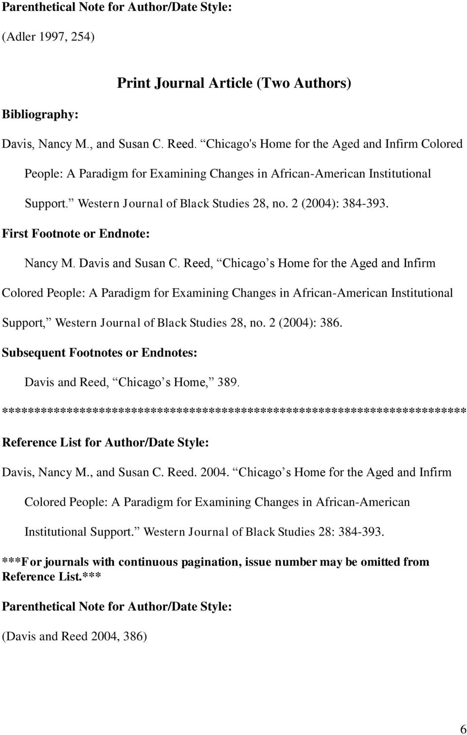 Davis and Susan C. Reed, Chicago s Home for the Aged and Infirm Colored People: A Paradigm for Examining Changes in African-American Institutional Support, Western Journal of Black Studies 28, no.