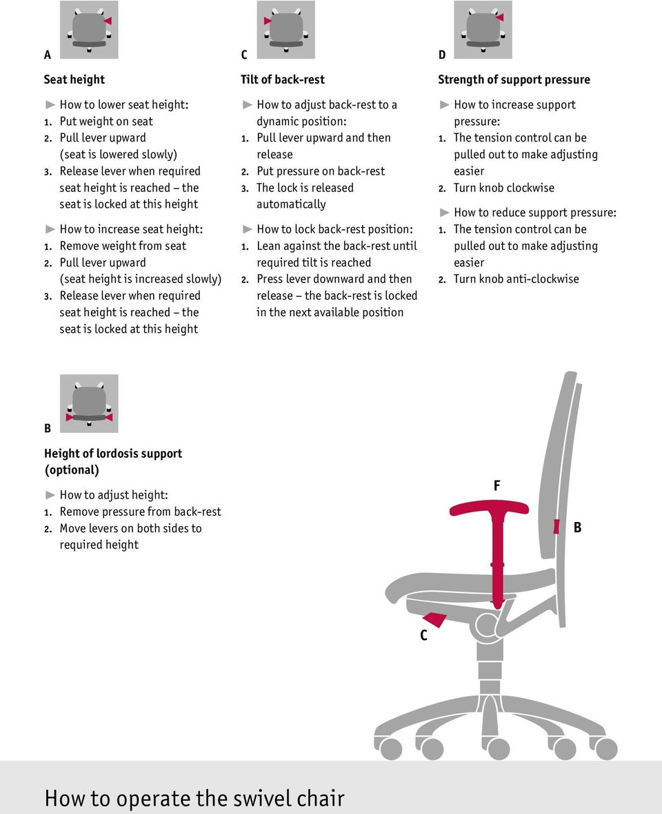 Release lever when required seat height is reached the seat is locked at this height C Tilt of back-rest ❿ How to adjust back-rest to a dynamic position: 1. Pull lever upward and then release 2.