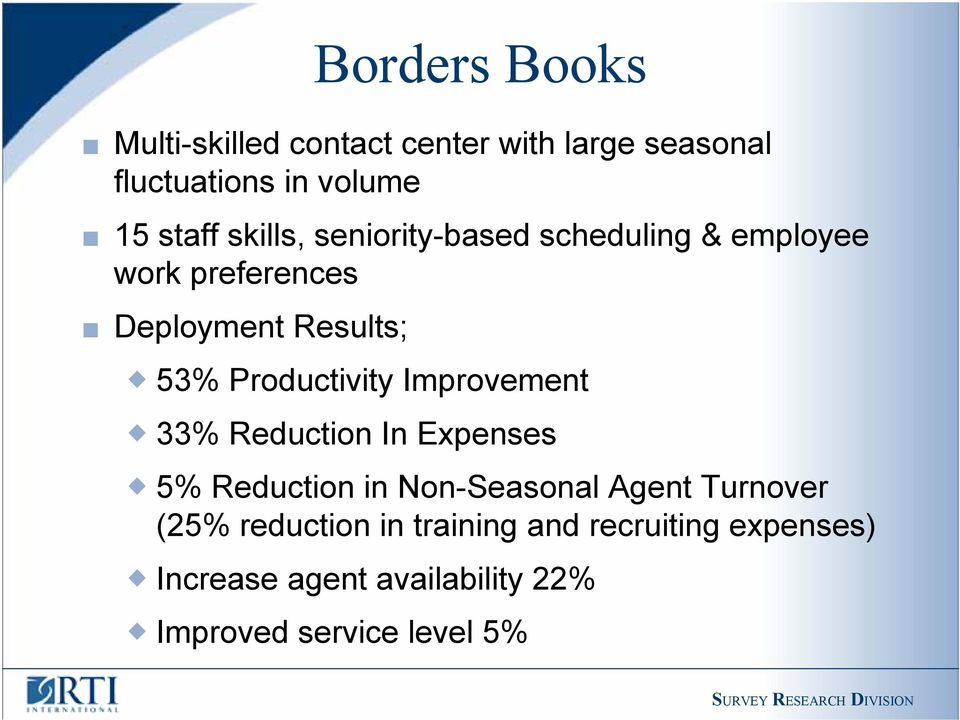 Productivity Improvement 33% Reduction In Expenses 5% Reduction in Non-Seasonal Agent Turnover