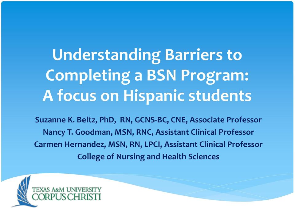 Beltz, PhD, RN, GCNS-BC, CNE, Associate Professor Nancy T.