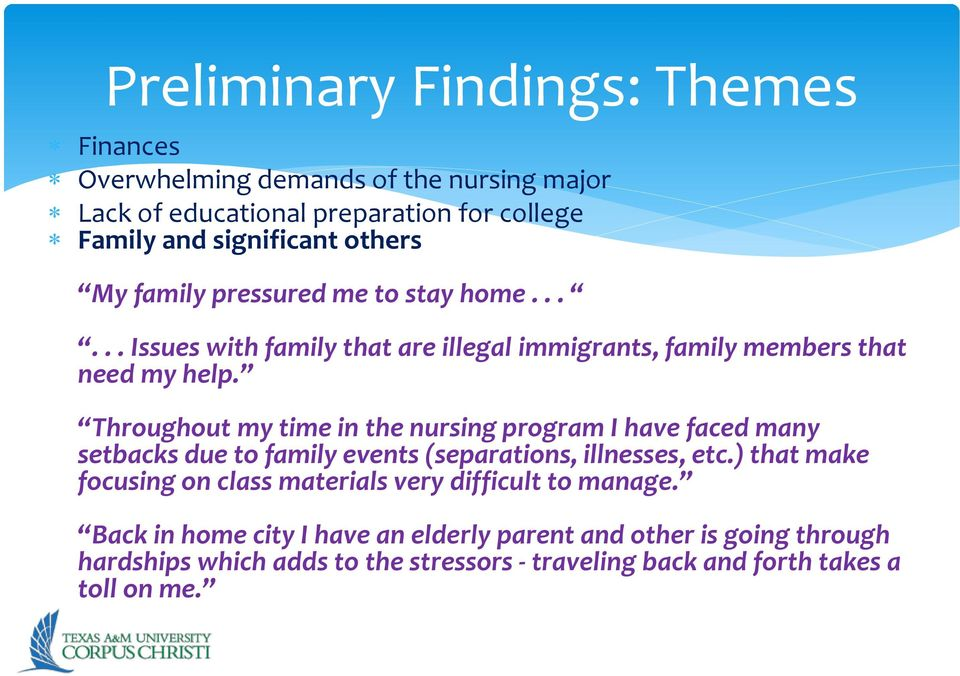 Throughout my time in the nursing program I have faced many setbacks due to family events (separations, illnesses, etc.