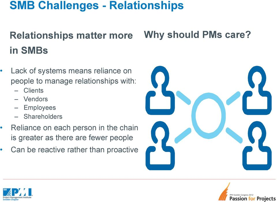Lack of systems means reliance on people to manage relationships with: