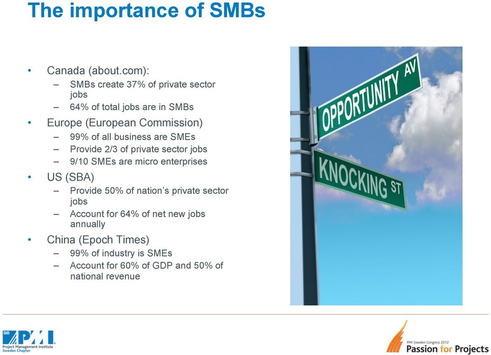 99% of all business are SMEs Provide 2/3 of private sector jobs 9/10 SMEs are micro enterprises US (SBA)