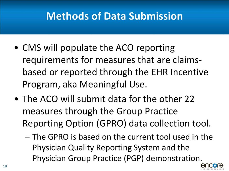 The ACO will submit data for the other 22 measures through the Group Practice Reporting Option (GPRO) data