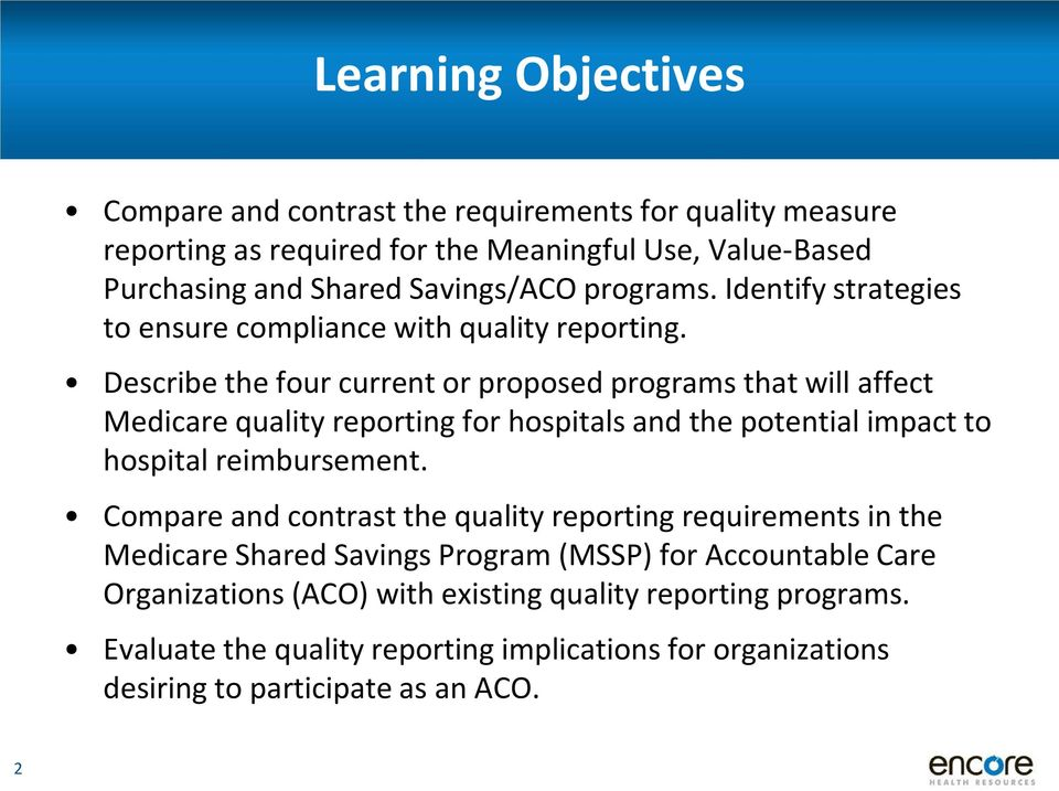 Describe the four current or proposed programs that will affect Medicare quality reporting for hospitals and the potential impact to hospital reimbursement.