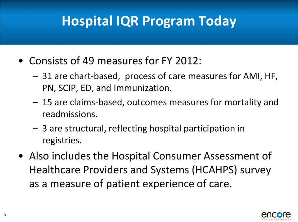 15 are claims-based, outcomes measures for mortality and readmissions.