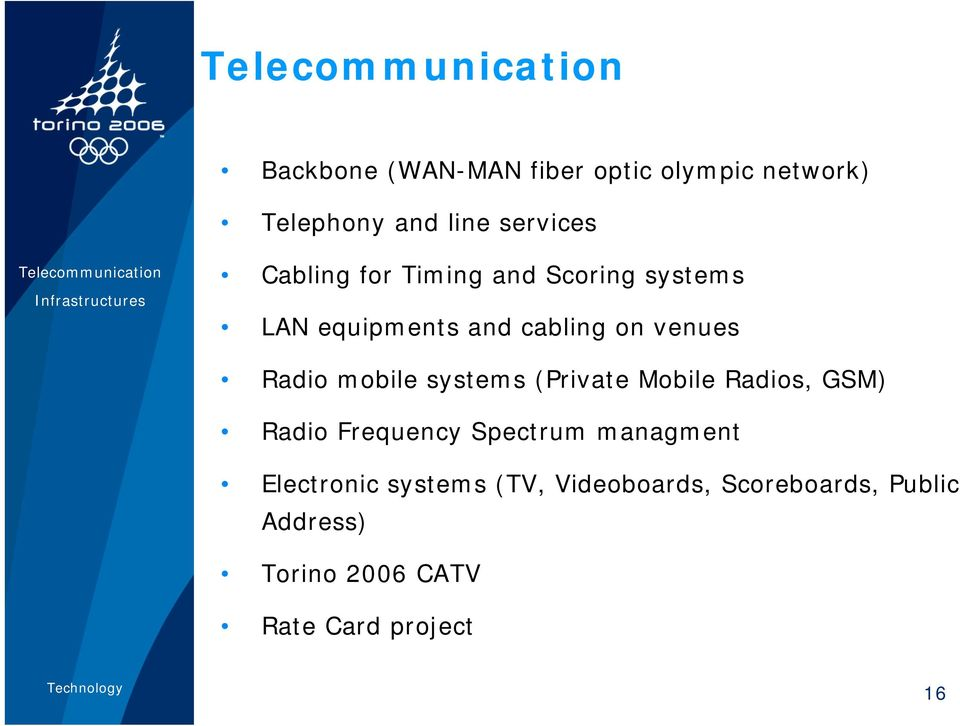 cabling on venues Radio mobile systems (Private Mobile Radios, GSM) Radio Frequency Spectrum