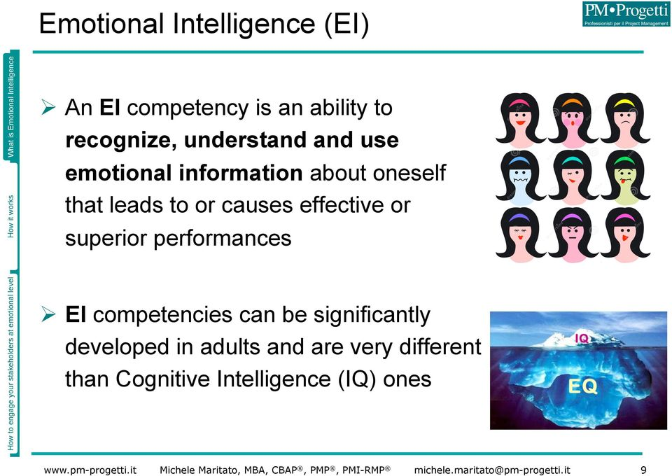 causes effective or superior performances Ø EI competencies can be