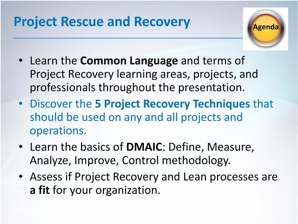 Discover the 5 Project Recovery Techniques that should be used on any and all projects and operations.