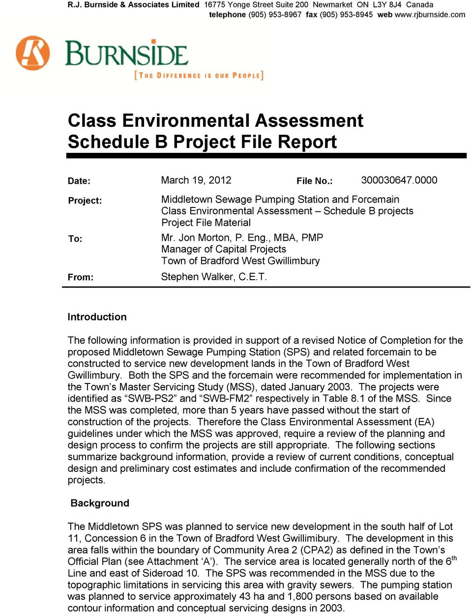 0000 Project: To: From: Middletown Sewage Pumping Station and Forcemain Class Environmental Assessment Schedule B projects Project File Material Mr. Jon Morton, P. Eng.