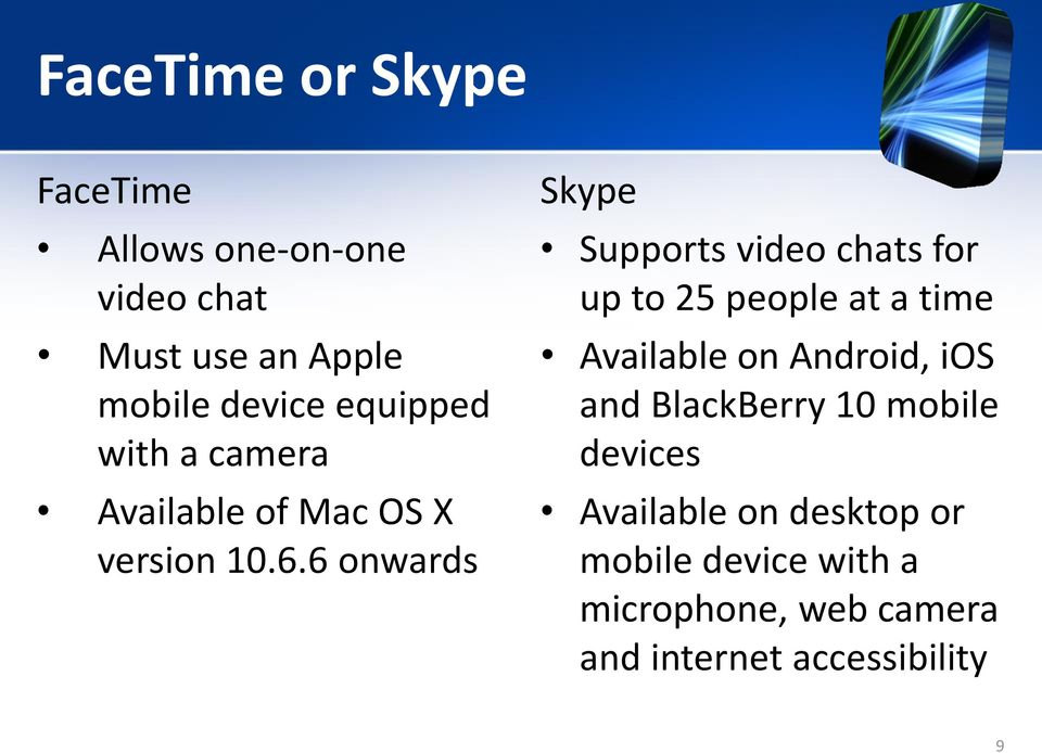 6 onwards Skype Supports video chats for up to 25 people at a time Available on Android,