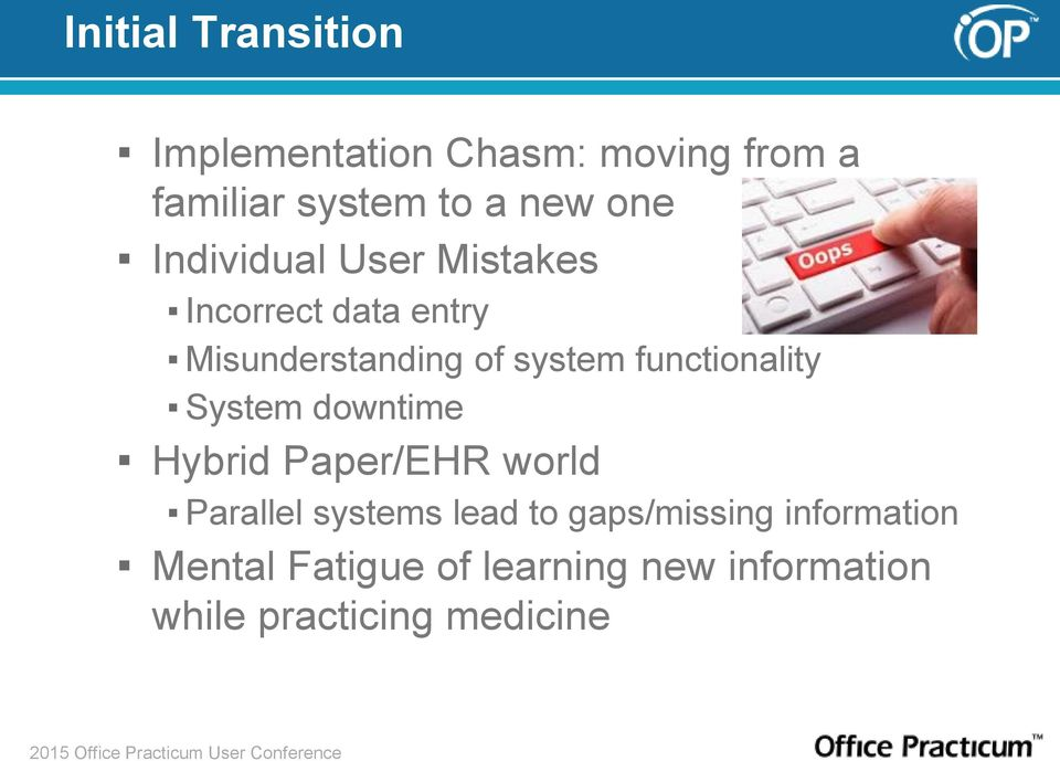 functionality System downtime Hybrid Paper/EHR world Parallel systems lead to