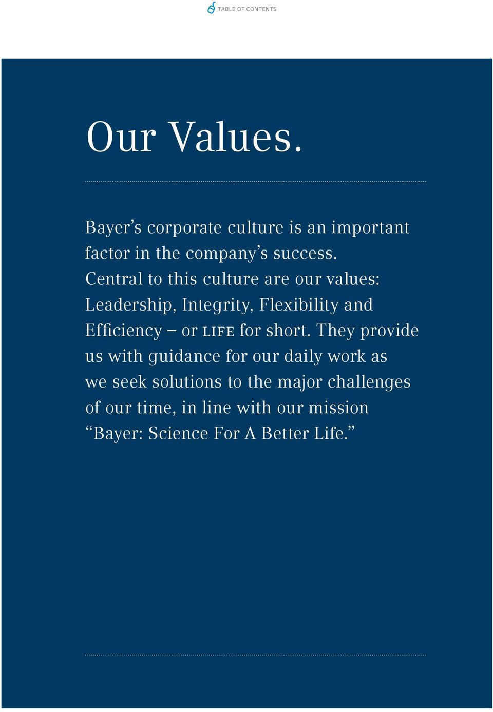 Central to this culture are our values: Leadership, Integrity, Flexibility and Efficiency or