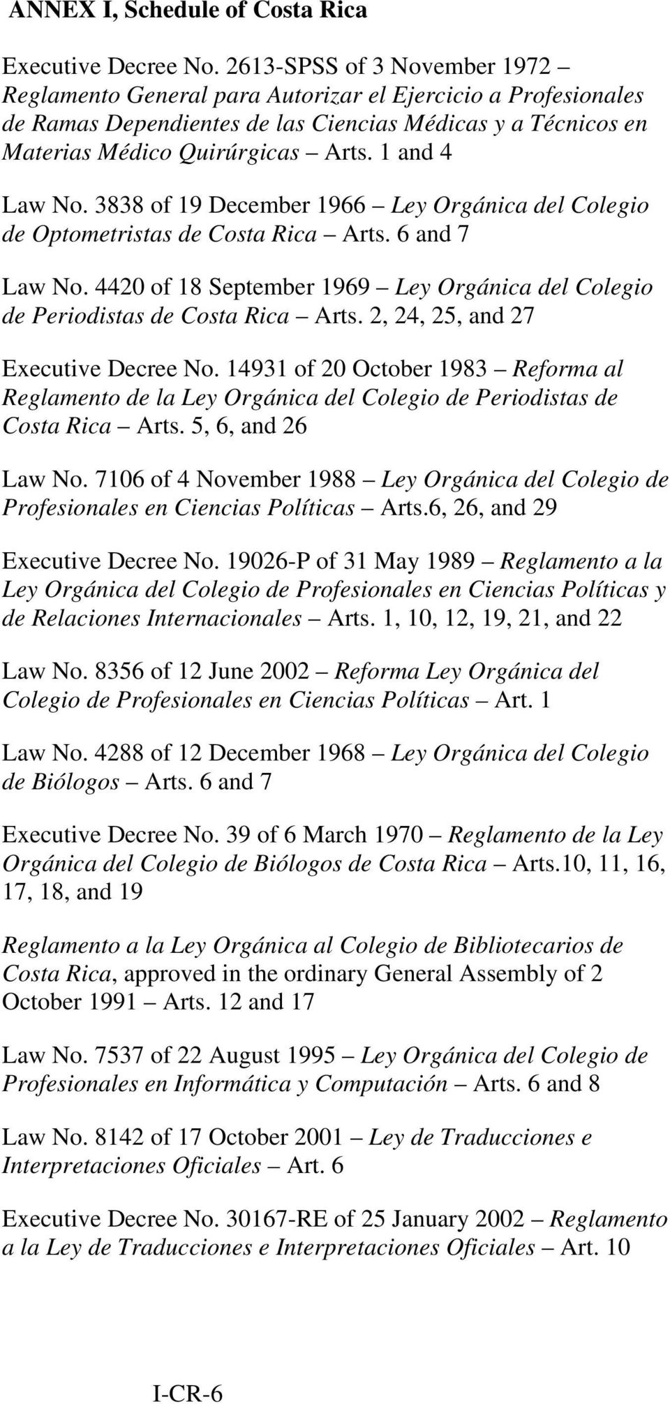 1 and 4 Law No. 3838 of 19 December 1966 Ley Orgánica del Colegio de Optometristas de Costa Rica Arts. 6 and 7 Law No.