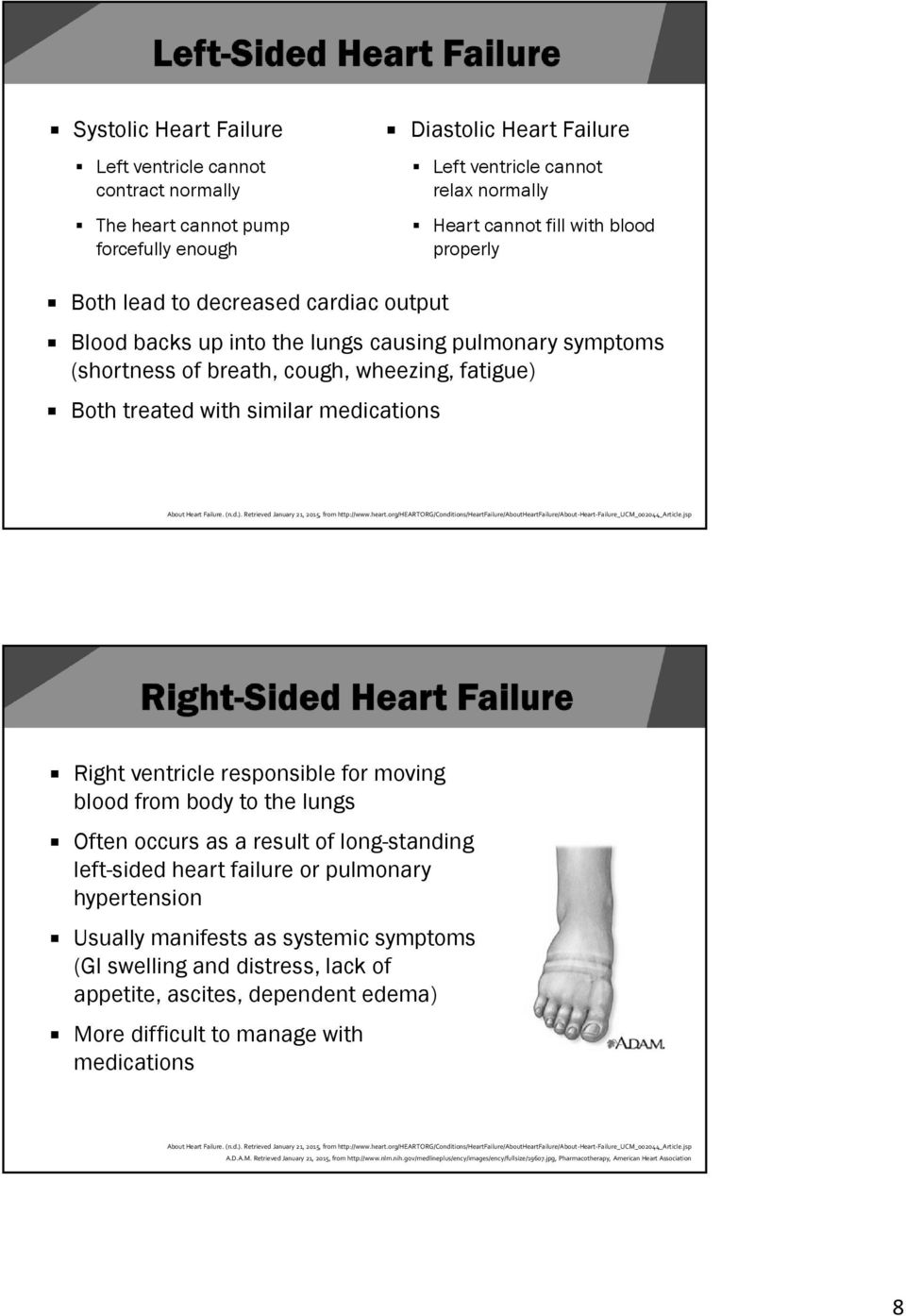 Heart Failure. (n.d.). Retrieved January 21, 2015, from http://www.heart.org/heartorg/conditions/heartfailure/aboutheartfailure/about Heart Failure_UCM_002044_Article.