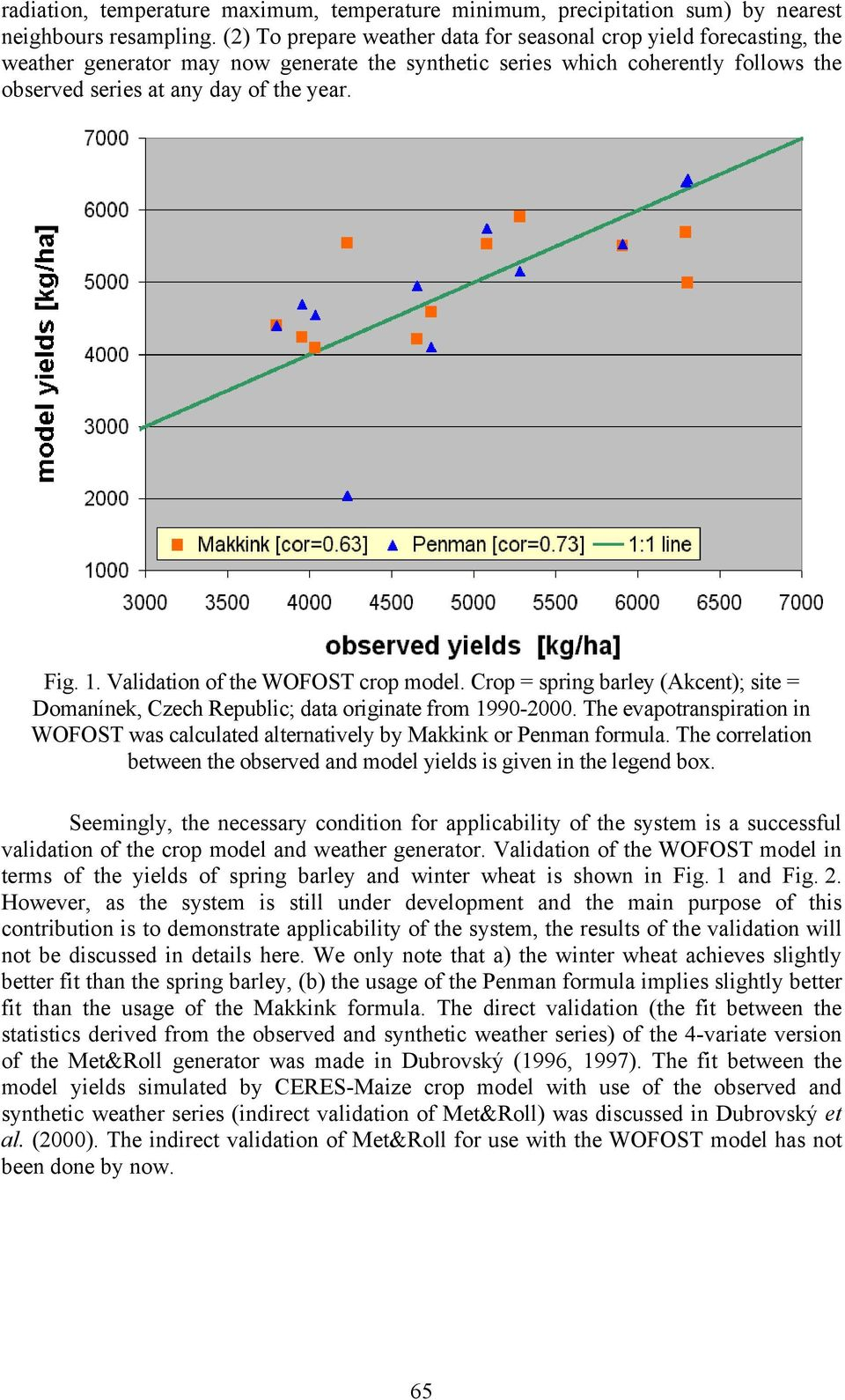 1. Validation of the WOFOST crop model. Crop = spring barley (Akcent); site = Domanínek, Czech Republic; data originate from 1990-2000.